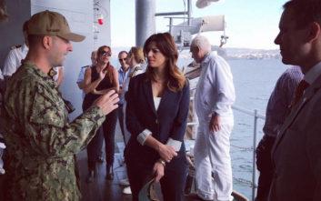 Η Κατερίνα Νοτοπούλου στη ναυαρχίδα του 6ου αμερικανικού στόλου