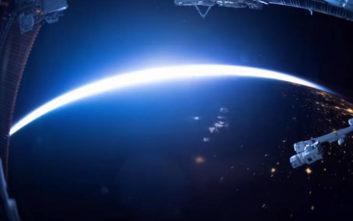Η δύση, η νύχτα και η ανατολή μέσα από ένα διαστημόπλοιο