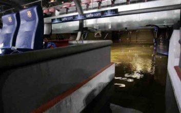 Πλημμύρισε το Καμπ Νου από τις καταρρακτώδεις βροχές