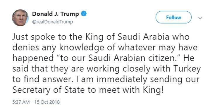 Ο Τραμπ μίλησε με τον Σαουδάραβα βασιλιά για τον εξαφανισμένο δημοσιογράφο