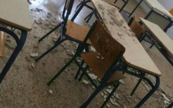 Τμήμα οροφής σχολικής αίθουσας κατέληξε στα θρανία των μαθητών