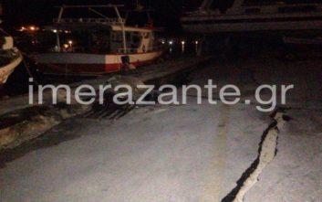Κατολισθήσεις βράχων και μια μεγάλη ρωγμή στο λιμάνι στη Ζάκυνθο από το σεισμό