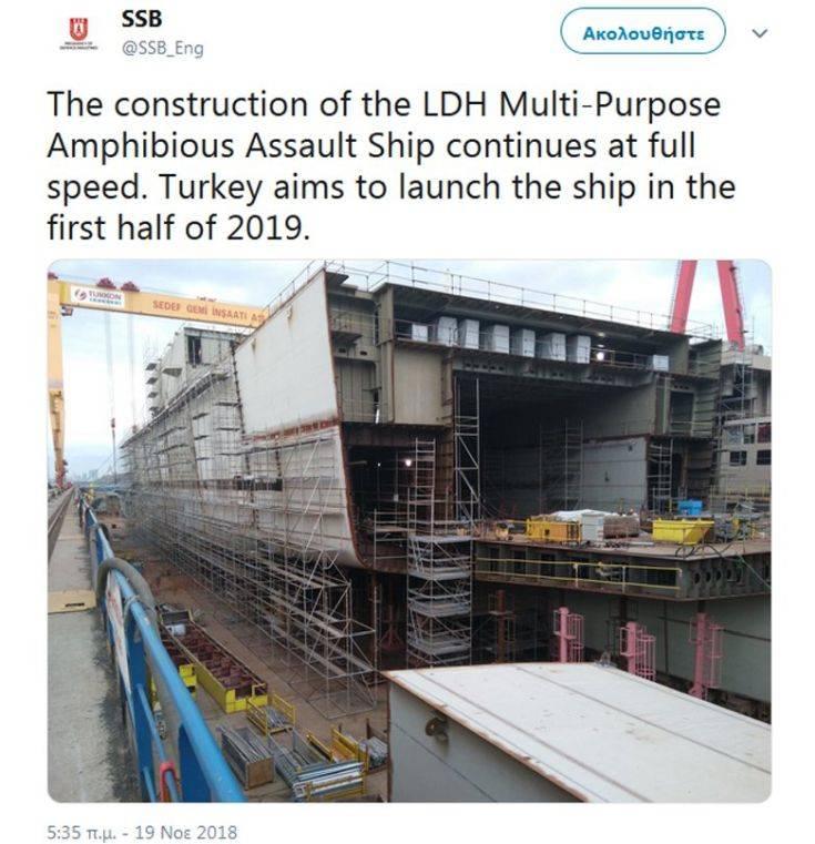 Προχωράει η κατασκευή του μίνι αεροπλανοφόρου της Τουρκίας