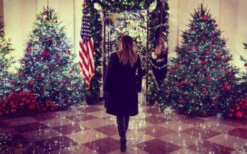 Υπερπαραγωγή ο χριστουγεννιάτικος στολισμός του Λευκού Οίκου από τη Μελάνια