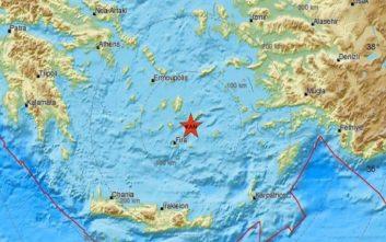 Σεισμός κοντά σε Σαντορίνη και Αμοργό