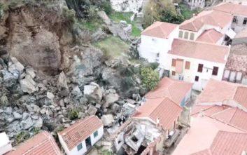 Η μεγάλη κατολίσθηση στο Πλωμάρι με τα «μάτια» ενός drone