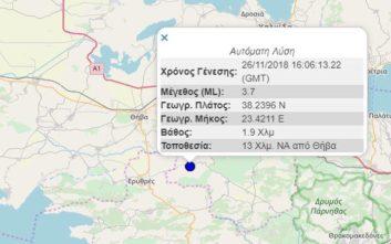 Σεισμός τώρα κοντά στη Θήβα