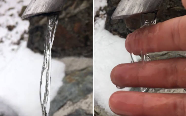 Υπέροχη οπτική πλάνη εμφανίζει τρεχούμενο νερό σαν παγωμένο