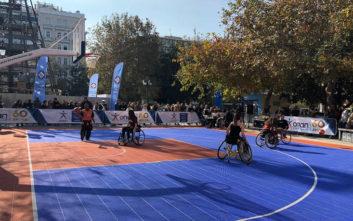 Η Πλατεία Συντάγματος μεταμορφώθηκε σε γήπεδο μπάσκετ από τον ΟΠΑΠ για το «2ο Ηοpe Streetball» της ΟΣΕΚΑ