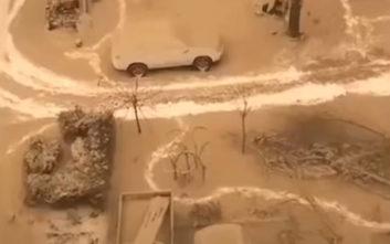Εικόνες από το σπάνιο φαινόμενο του «κίτρινου» χιονιού