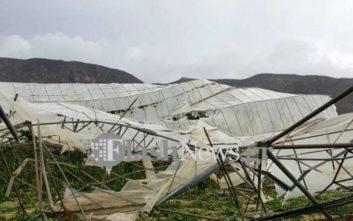 Ανεμοστρόβιλος προκάλεσε μεγάλες καταστροφές σε θερμοκήπιο στην Κρήτη