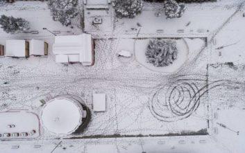 Η χιονισμένη Θεσσαλονίκη από ψηλά