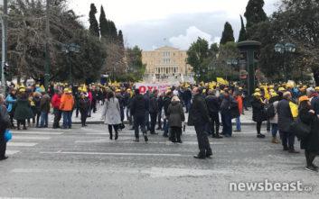 Κινητοποίηση και πορεία εργαζομένων στα ΕΛΤΑ στο κέντρο της Αθήνας