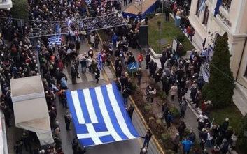 Σε εξέλιξη συλλαλητήριο για τη Μακεδονία στη Βέροια
