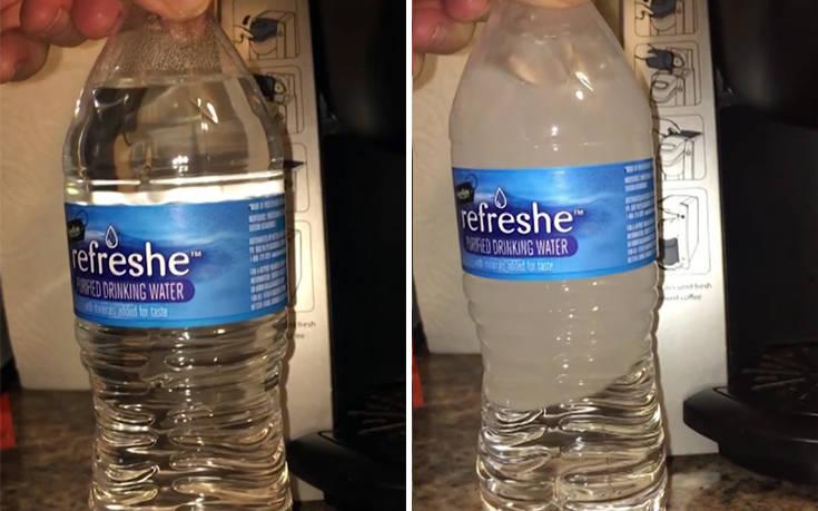Δείτε ένα μπουκάλι νερό να παγώνει στη στιγμή