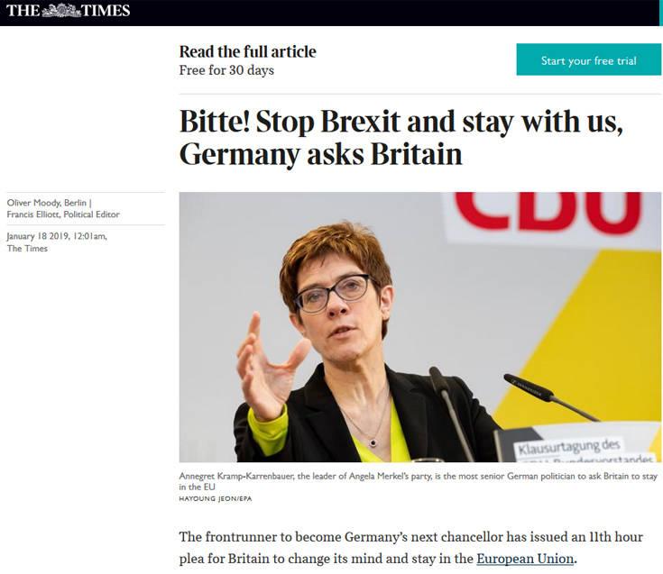 Ύστατη έκκληση Γερμανών πολιτικών προς τη Βρετανία να παραμείνει στην ΕΕ