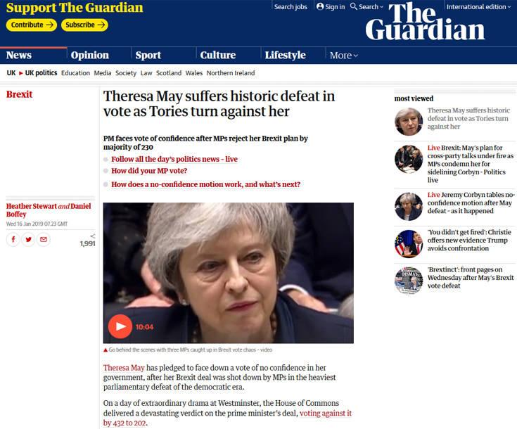 Κόλαφος τα πρωτοσέλιδα του βρετανικού Τύπου για την Τερέζα Μέι
