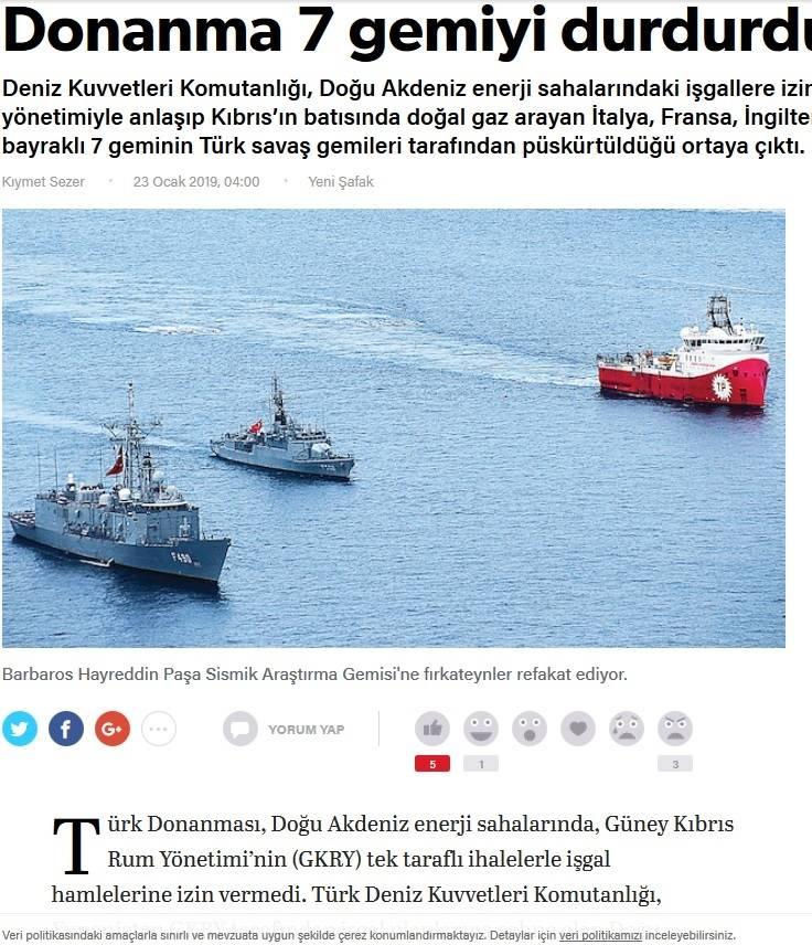 Yeni Safak: Ο τουρκικός στόλος απέτρεψε «εισβολή» στη Μεσόγειο