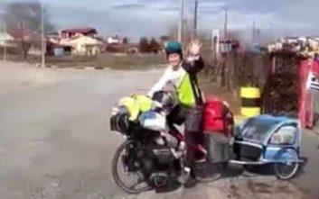 Ο ποδηλάτης των τεσσάρων ηπείρων έκανε στάση στην Καρδίτσα