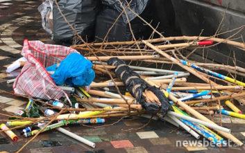 Ξύλα, μπουκάλια και φωτοβολίδες τα «πολεμοφόδια» των Ουκρανών οπαδών