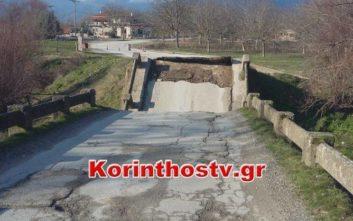 Γέφυρα κατέρρευσε στο Φενεό Κορινθίας