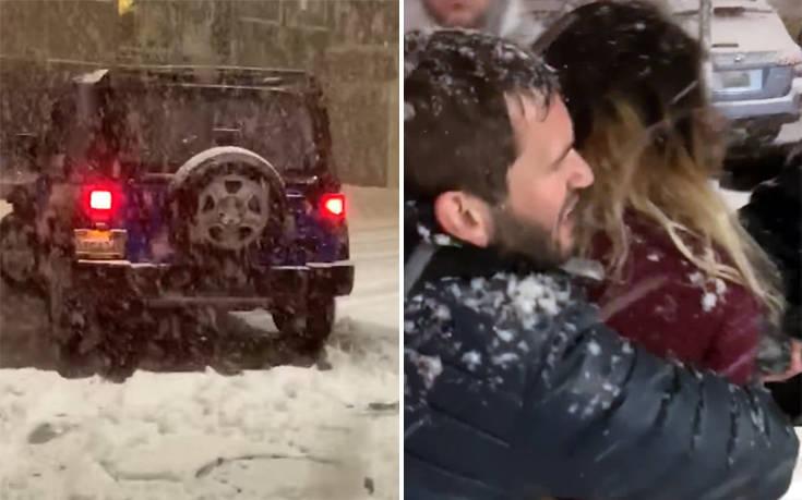 Της πέταξαν χιόνι και… πήγε να τους πατήσει