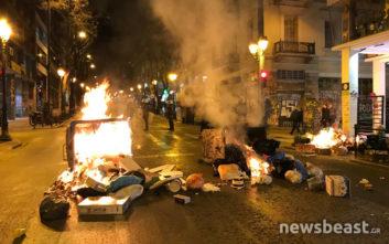 Κλειστή η Ακαδημίας από τα επεισόδια στο κέντρο της Αθήνας