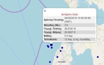 Σεισμός τώρα ανοιχτά της Λευκάδας
