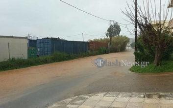 Πλημμύρισαν δρόμοι στα Χανιά από την κακοκαιρία