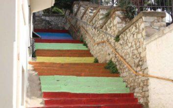 Οι γειτονιές της Καβάλας απέκτησαν χρωματιστές σκάλες