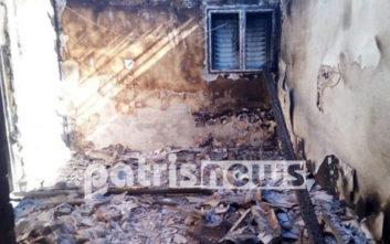 Εξοχική κατοικία κάηκε ολοσχερώς στη Σπιάτζα Ηλείας