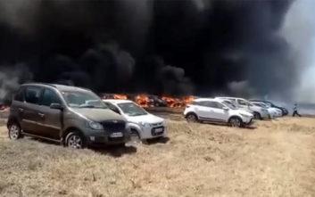Παρανάλωμα του πυρός 200 αυτοκίνητα σε πάρκινγκ