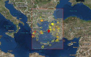 Σεισμός τώρα στο Αιγαίο, βορειοδυτικά της Χίου