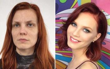 Γυναίκες πριν και μετά το μακιγιάζ