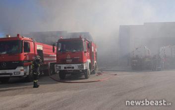 Φωτογραφίες από την αποθήκη χαρτικών, όπου η φωτιά συνεχίζει να καίει