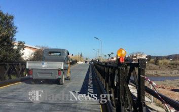 Στην κυκλοφορία η γέφυρα που τοποθέτησαν οι Ένοπλες Δυνάμεις στον Πλατανιά