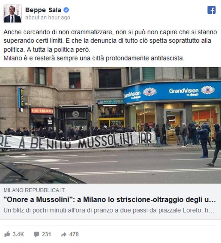 Οπαδοί της Λάτσιο κρέμασαν πανό που έγραψε «τιμή στον Μουσολίνι»