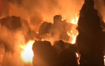 Καταστράφηκε ολοσχερώς εργοστάσιο ανακύκλωσης στη Σίνδο