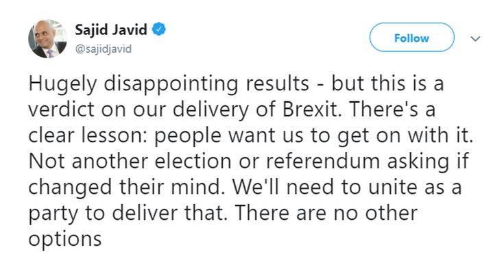 Ευρωεκλογές 2019: «Τρομερά απογοητευτικό το αποτέλεσμα» για τον υπουργό Εσωτερικών της Βρετανίας