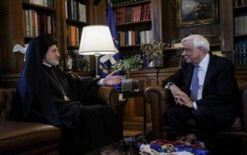 Με τον Αρχιεπίσκοπο Αμερικής Ελπιδοφόρο συναντήθηκε ο Προκόπης Παυλόπουλος