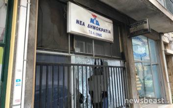 Φωτογραφίες από τις επιθέσεις στα γραφεία της ΝΔ σε Νέα Ιωνία και Άλιμο