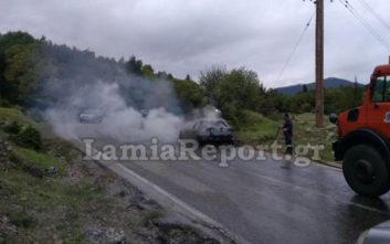 Στις φλόγες τυλίχτηκε αυτοκίνητο στη Φθιώτιδα