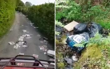 O δρόμος με τα δεκάδες σκουπίδια που ανήκει σε ευρωπαϊκή χώρα