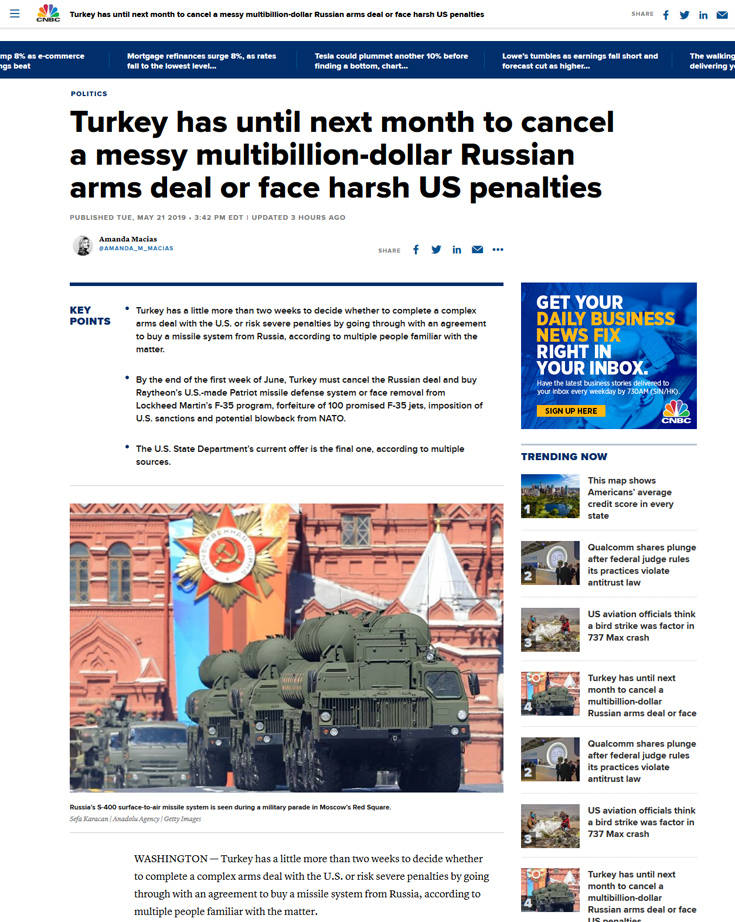 S-400: Το Κρεμλίνο καταδικάζει το αμερικανικό «τελεσίγραφο» προς την Τουρκία