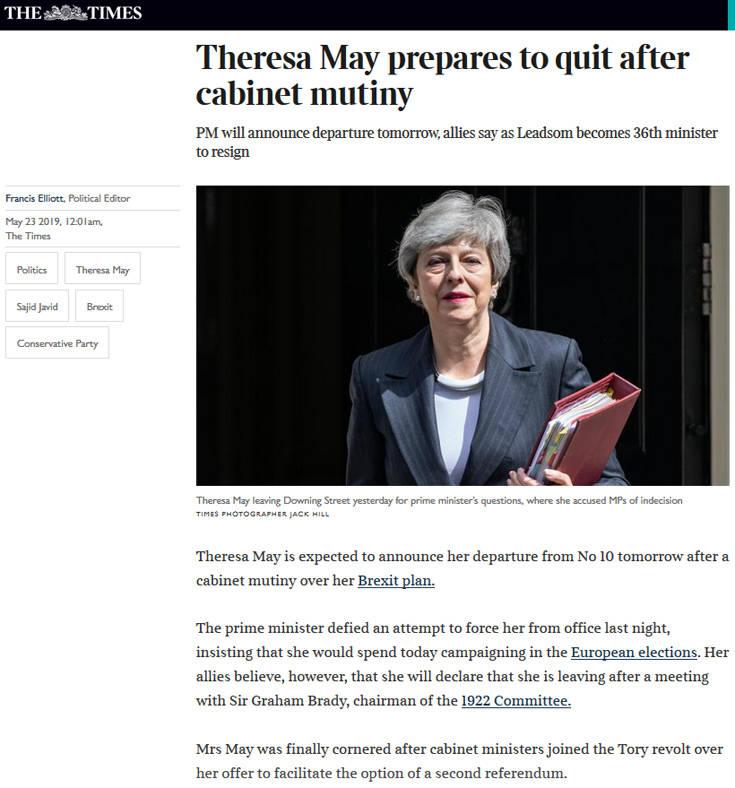 Brexit: Παραιτείται αύριο η Τερέζα Μέι