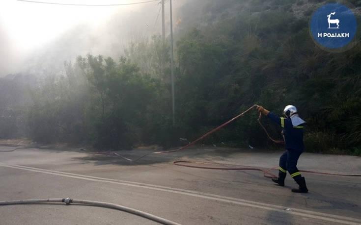 Φωτιά ξέσπασε κοντά σε ξενοδοχείο στο Φαληράκι στη Ρόδο