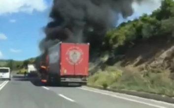 Νταλίκα τυλίχθηκε στις φλόγες στον δρόμο Λαμία - Δομοκός