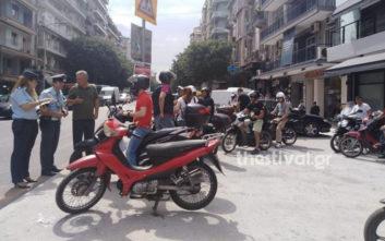 Ντελιβεράδες έκαναν μοτοπορεία στο κέντρο της Θεσσαλονίκης