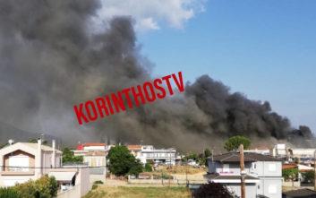 Εικόνες από την μεγάλη φωτιά σε σούπερ μάρκετ στο Χιλιομόδι Κορινθίας