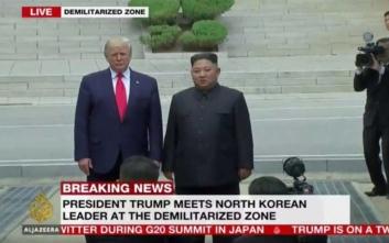 Σε εξέλιξη η συνάντηση Τραμπ με τον Κιμ Γιονγκ Ουν